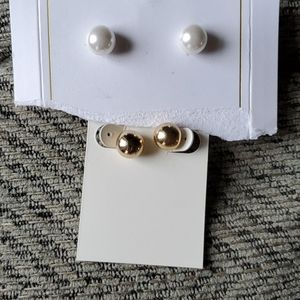 H&M pearl balls & gold balls earrings, never used